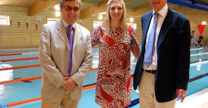 Tom Holman, Rebecca Adlington and Nick Forrester at Bethany School