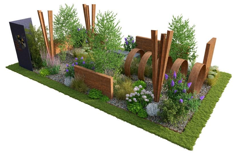 Brownfield Metamorphosis show garden by Martyn Wilson for RHS Hampton