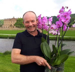 Jonathan Moseley at RHS Chatsworth with Double H orchids