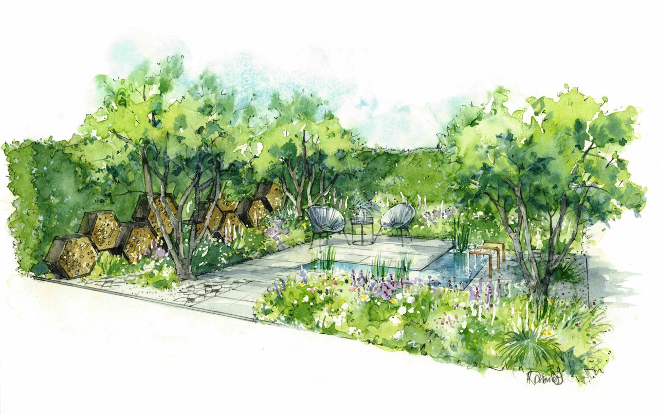Contemporary bee-friendly garden for designer's debut at RHS Hampton